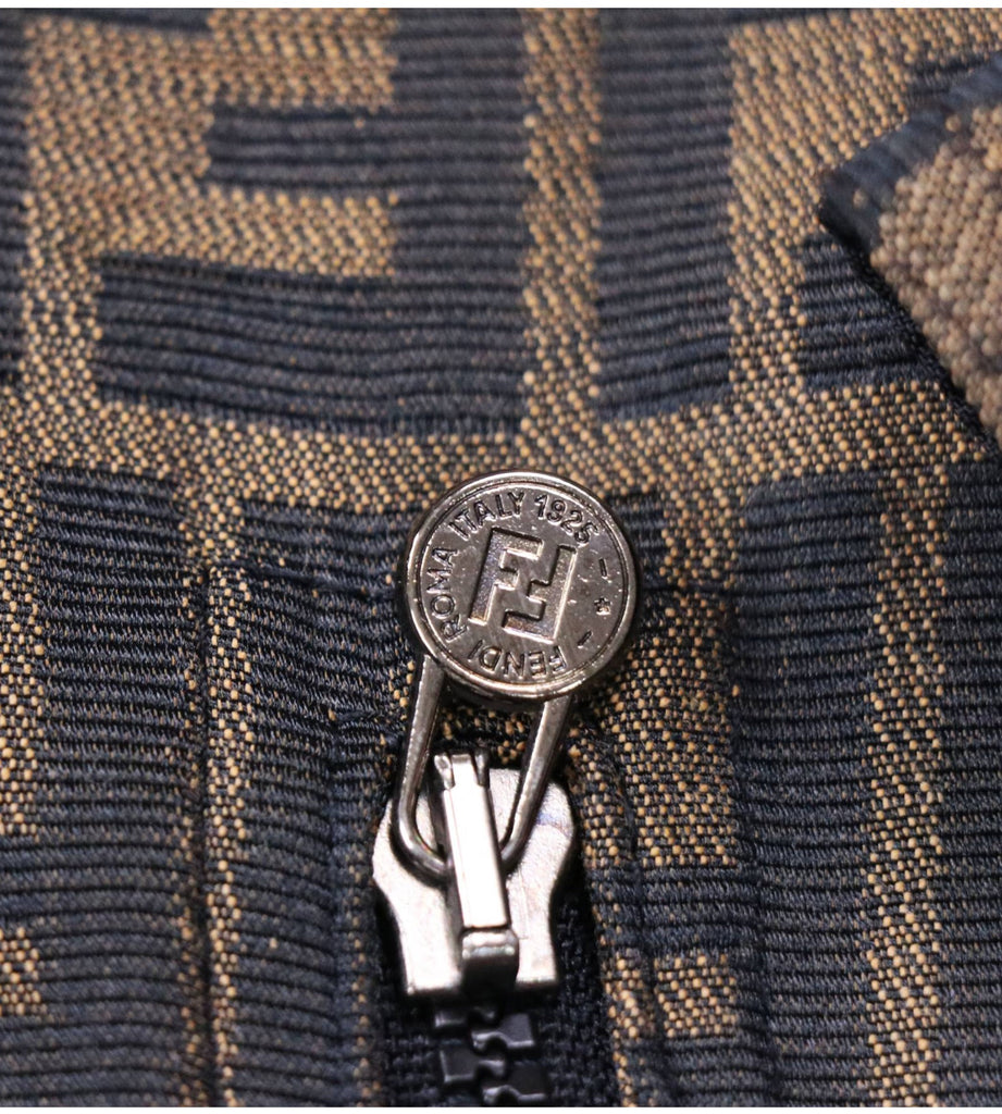 FENDI FF MONOGRAM LOGO REVERSIBLE CROPPED JACKET, S/M