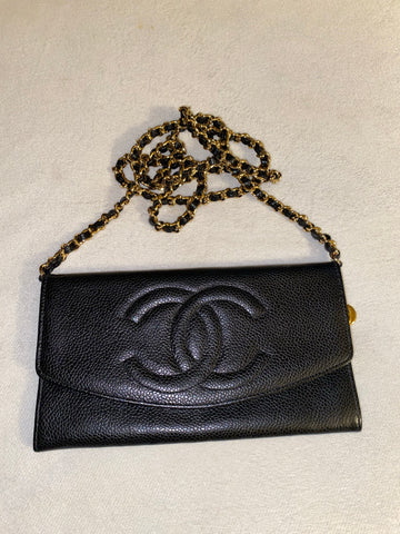 Black Caviar CHANEL Wallet on Chain, Small