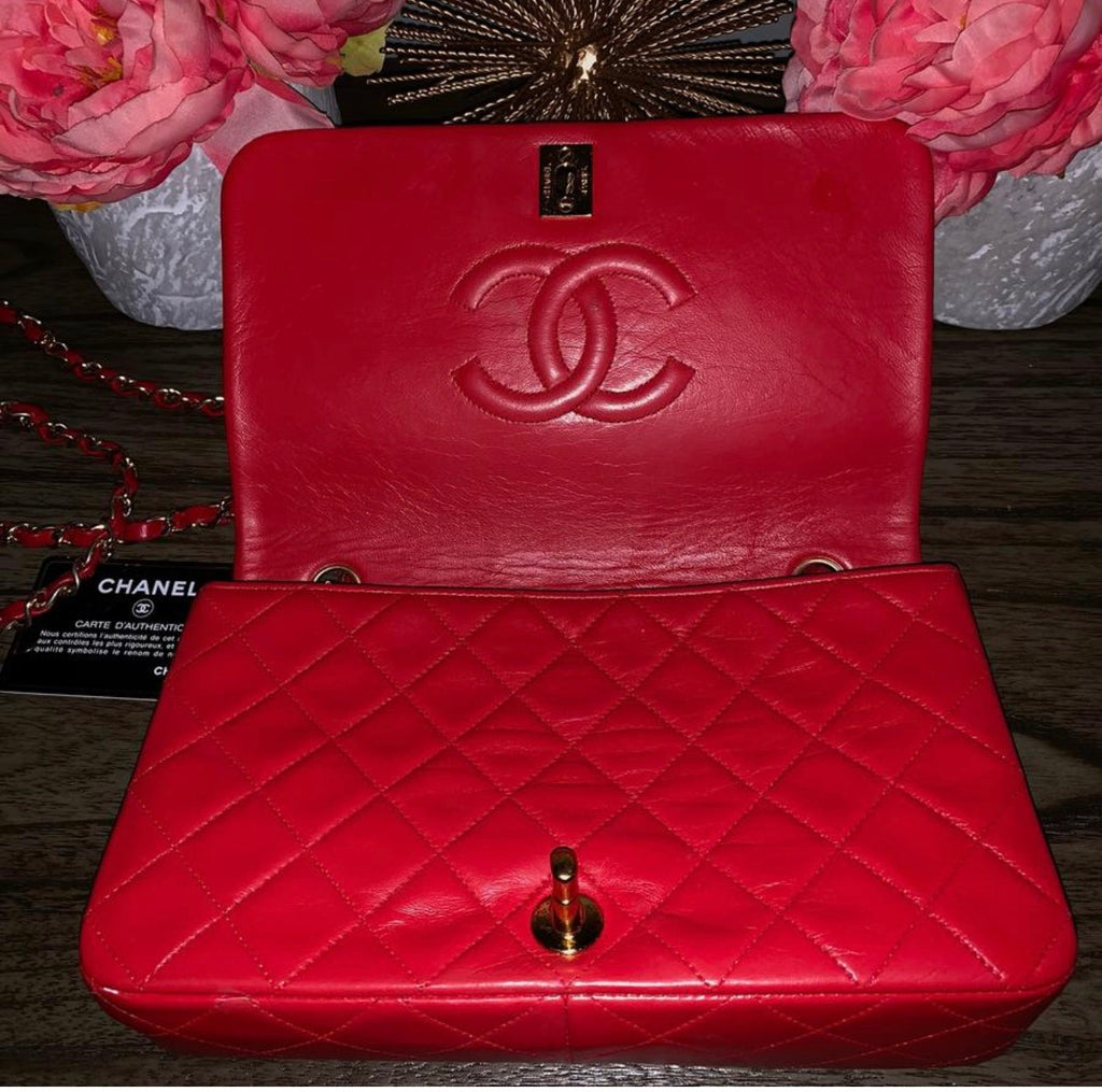 Vintage Chanel quilted crossbody, Red Lambskin ghw