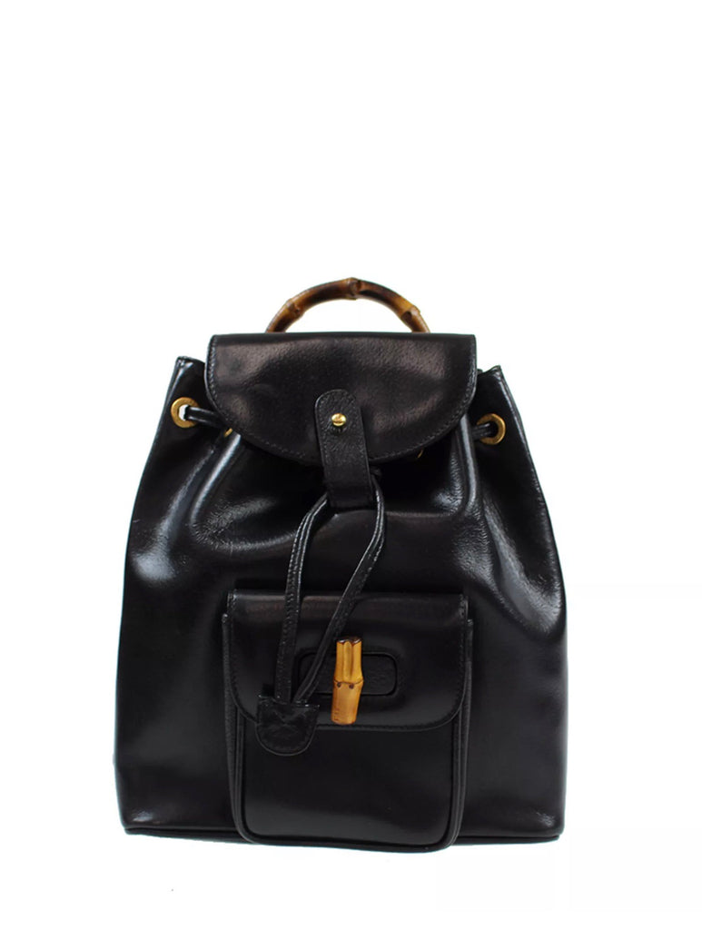 GUCGI GG Leather backpack with bamboo detail