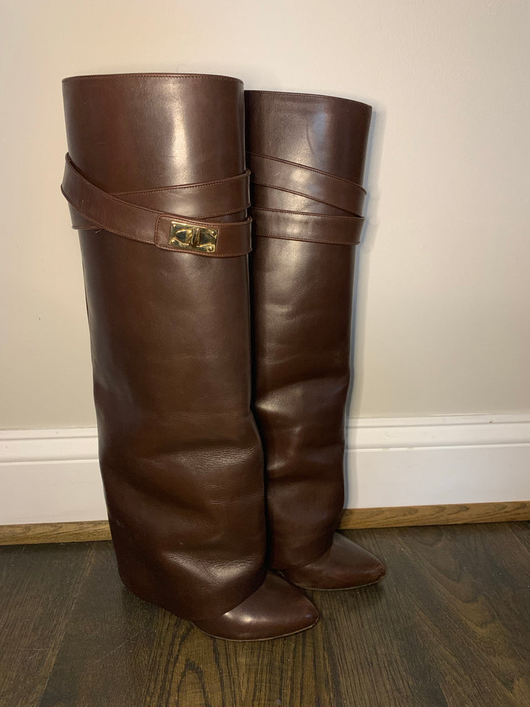 TALL GIVENCHY SHARK LOCK BOOTS, 38.5