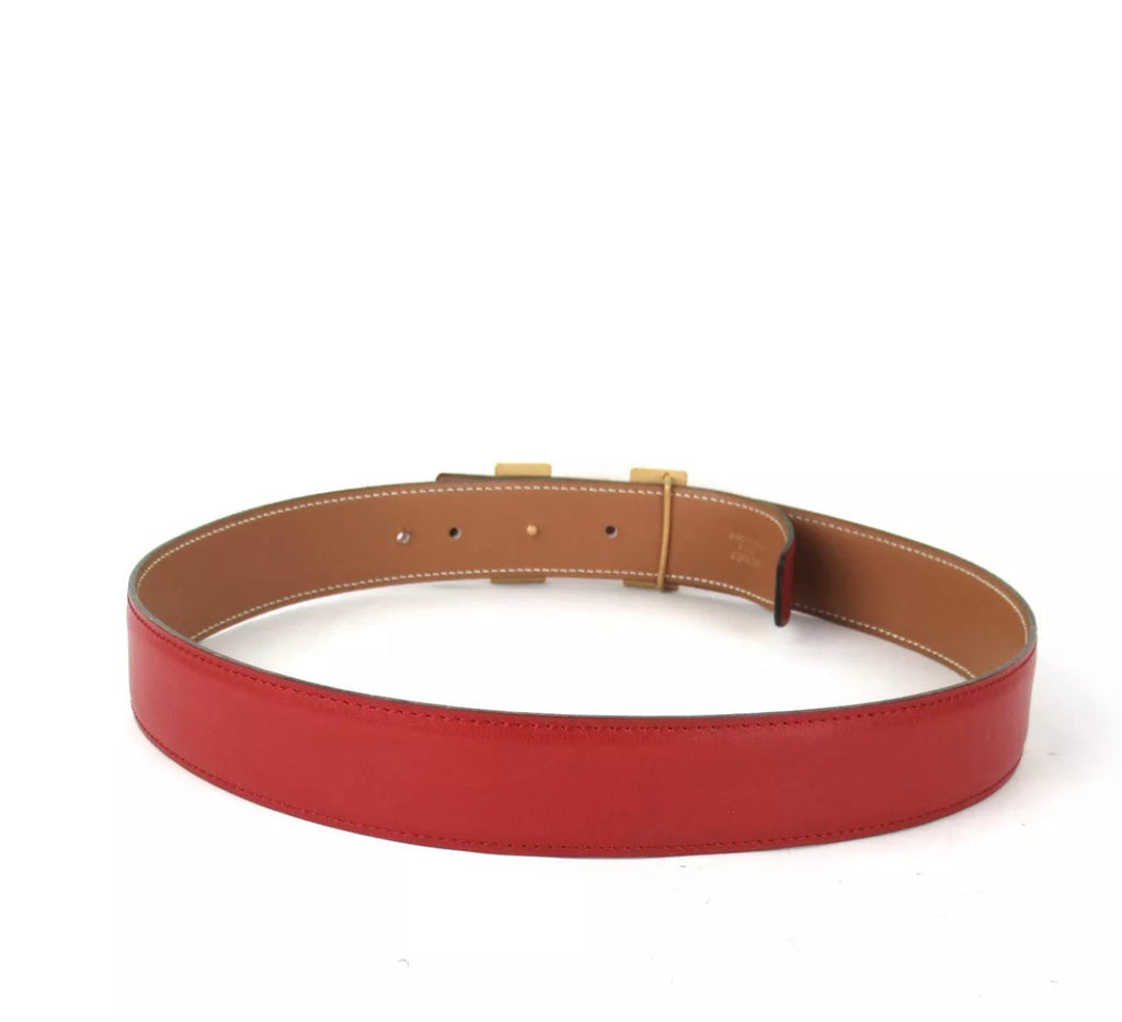 "Red HERMÉS ""H"" Constance Reversible Belt, 70CM XS"
