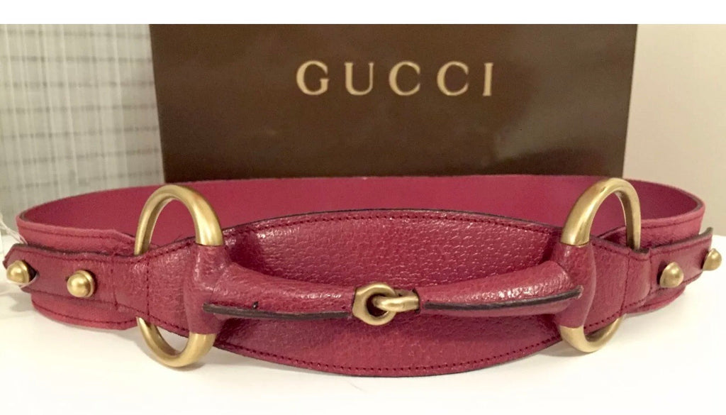 GUCCI Leather Horsebit Waist Belt, Small