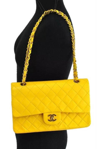 CHANEL Lambskin Classic Flap handbag 2.55, Yellow GHW