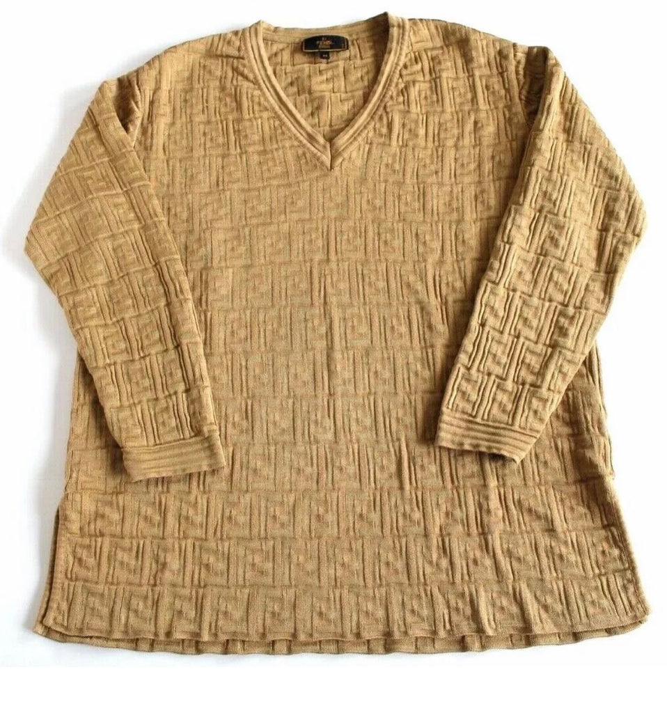 Unisex Gold FENDI Monogram Zucca Knit Sweater, US 10