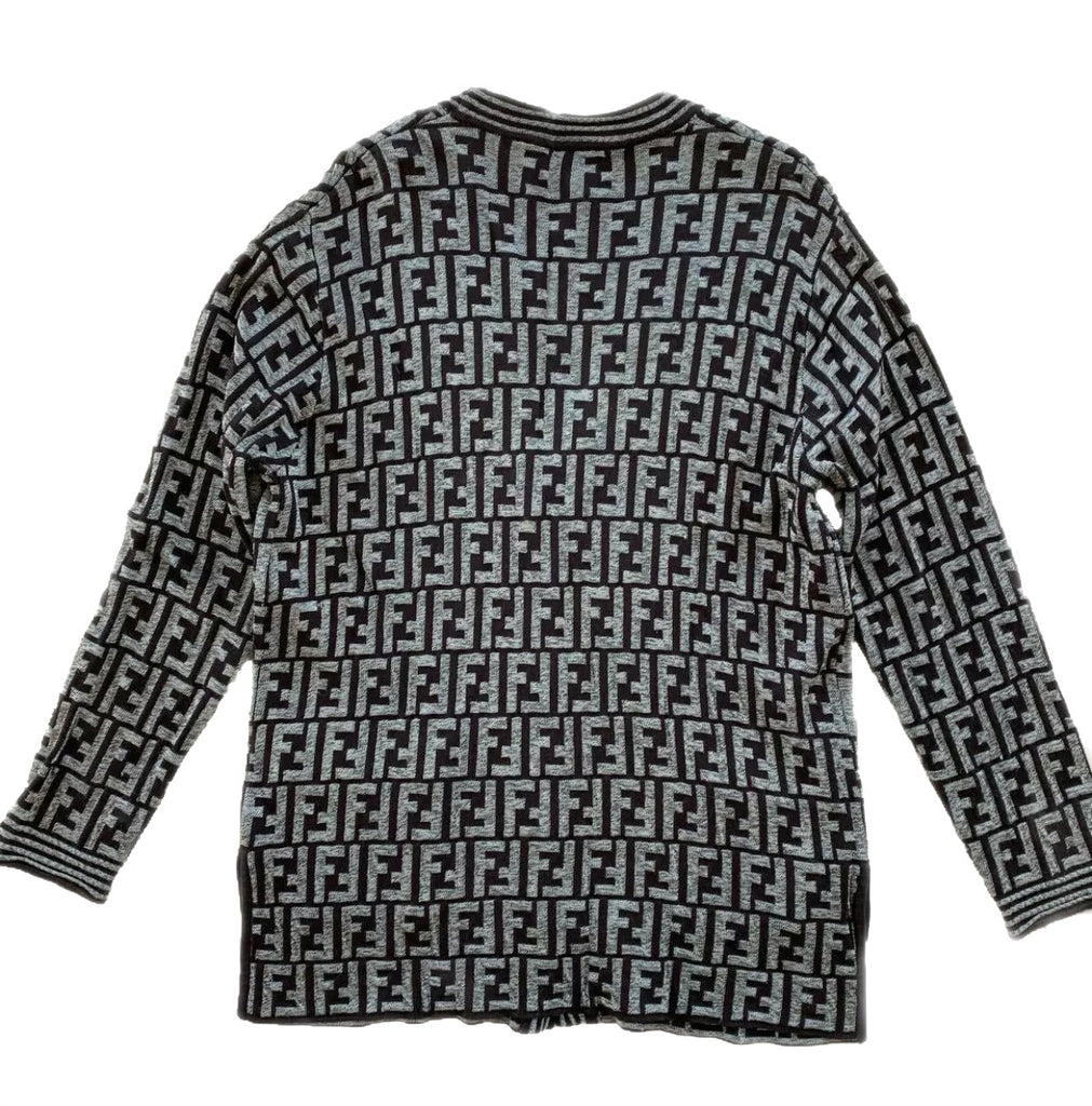 Vtg Unisex FENDI FF Monogram Cardigan Sweater, IT42