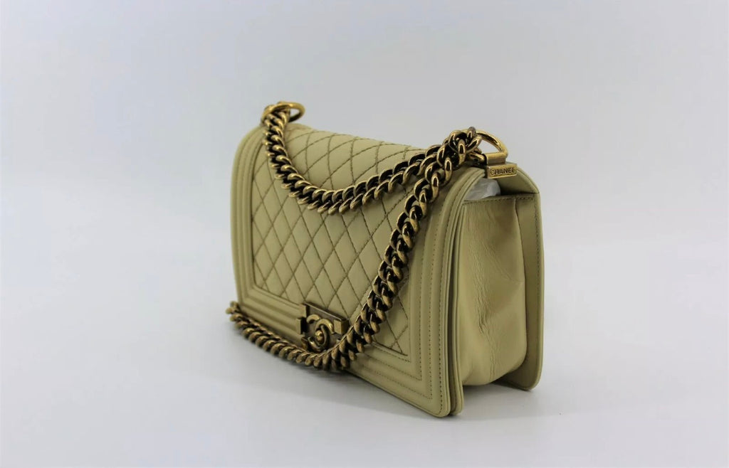 CHANEL Medium Boy Bag, Beige GHW