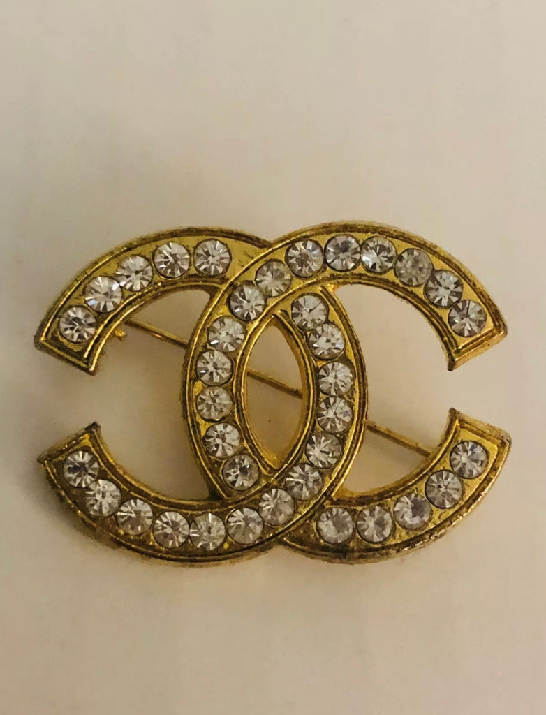 Vtg Crystal CHANEL Gold CC Logo Brooch