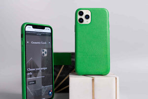 green iphone 11 pro leather case