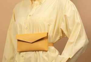 yellow leather belt bag