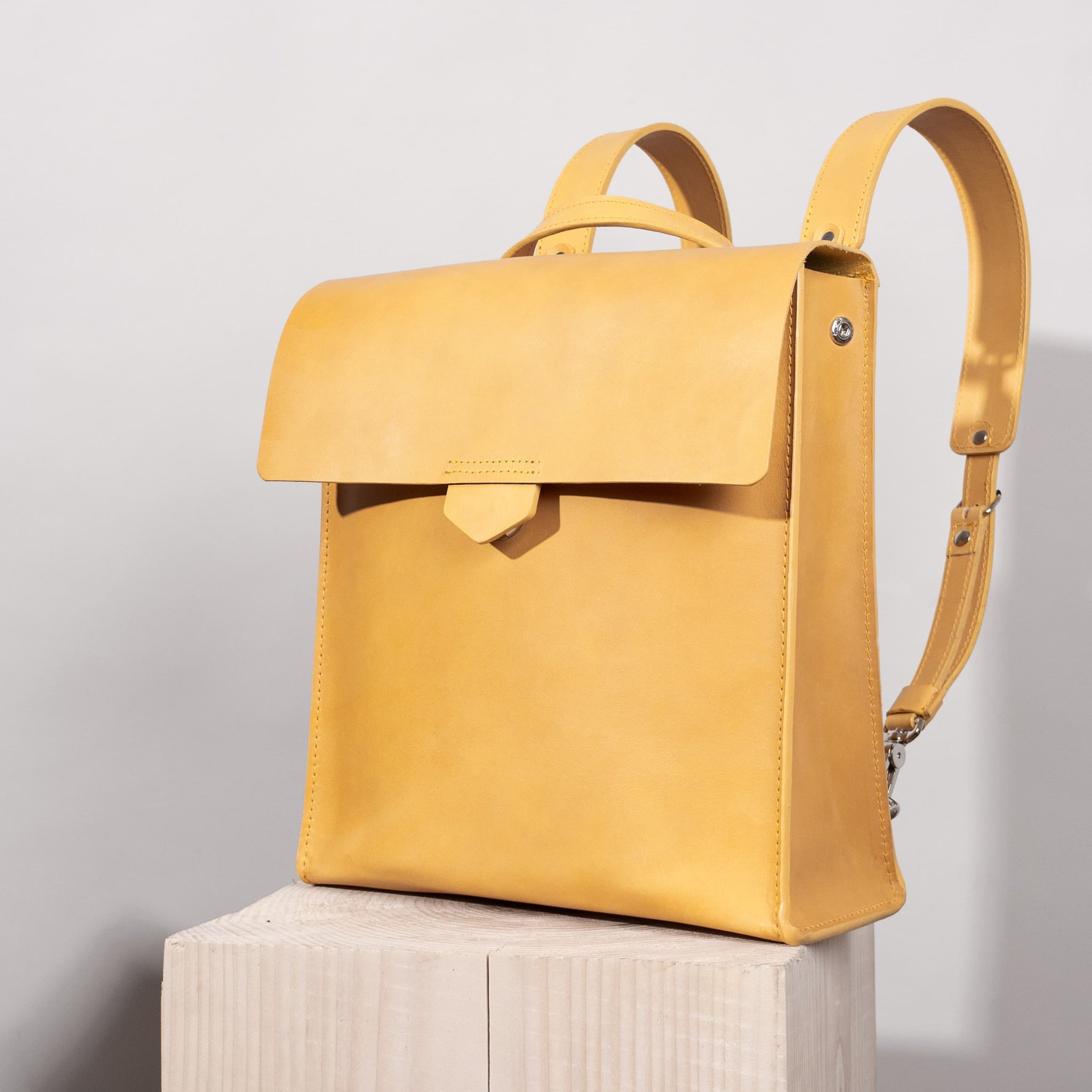 Leather backpack - Fibonacci in mustard yellow color