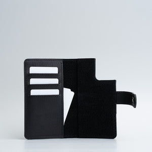 black iPhone 12 pro folio wallet