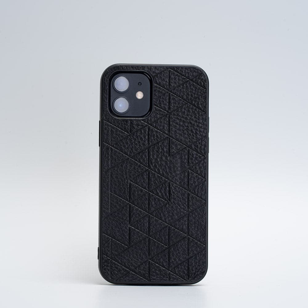 black iphone 12 leather case