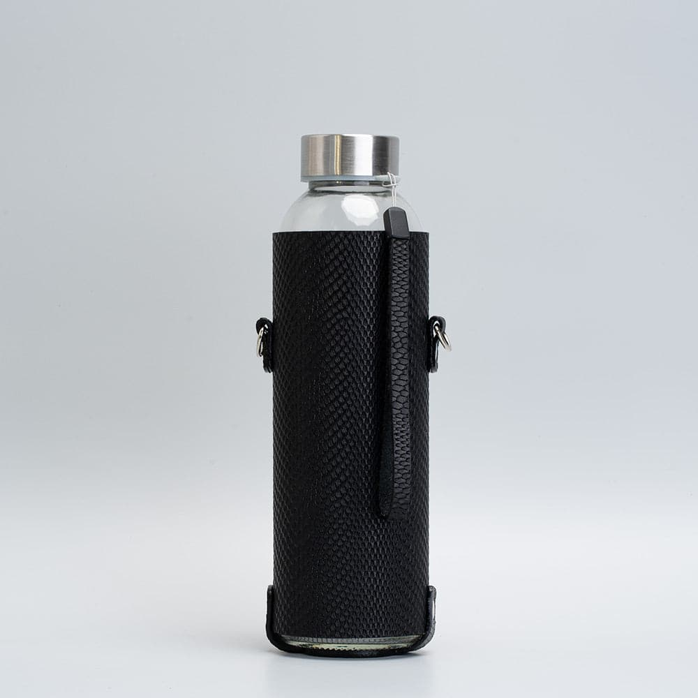 black leather bottle holder