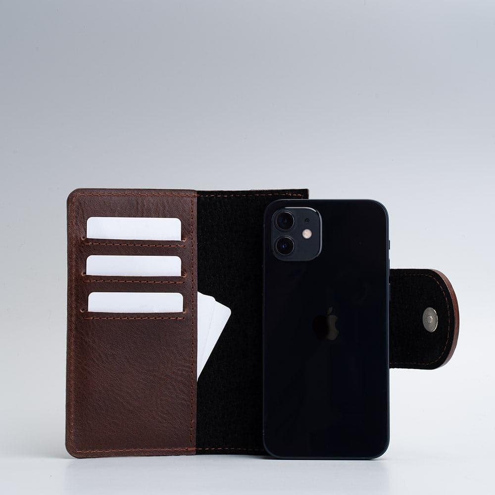 dark brown magsafe folio wallet