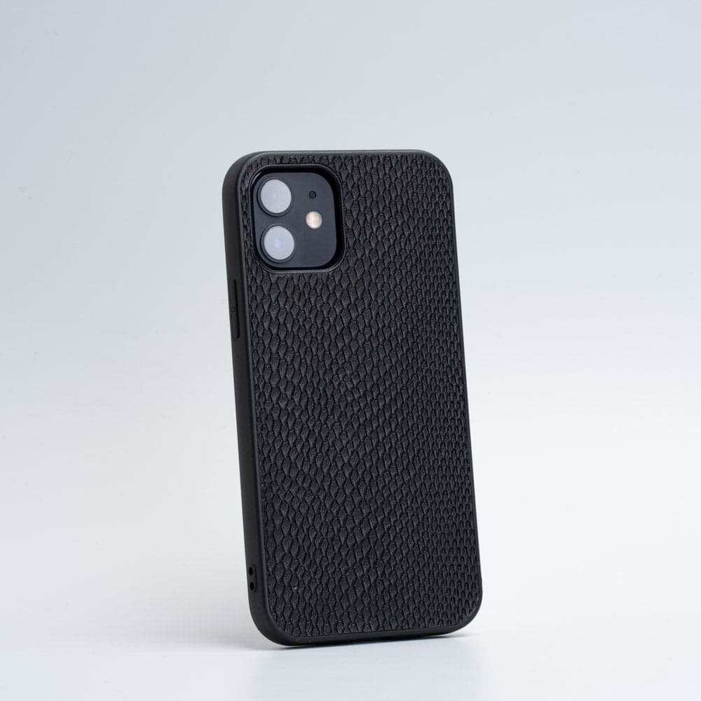 embossed black animal print iphone 12 case
