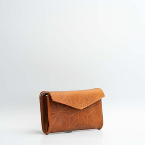 geometric leather fanny pack