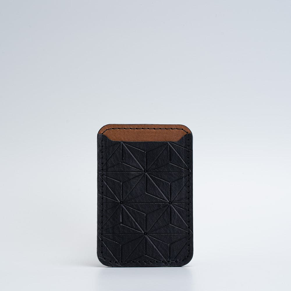 geometric leather magsafe wallet