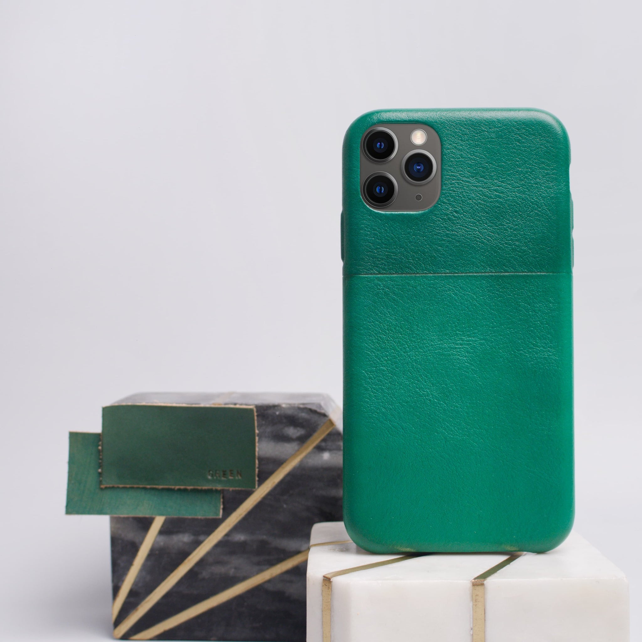 Leather iPhone case - Two Tones - Green