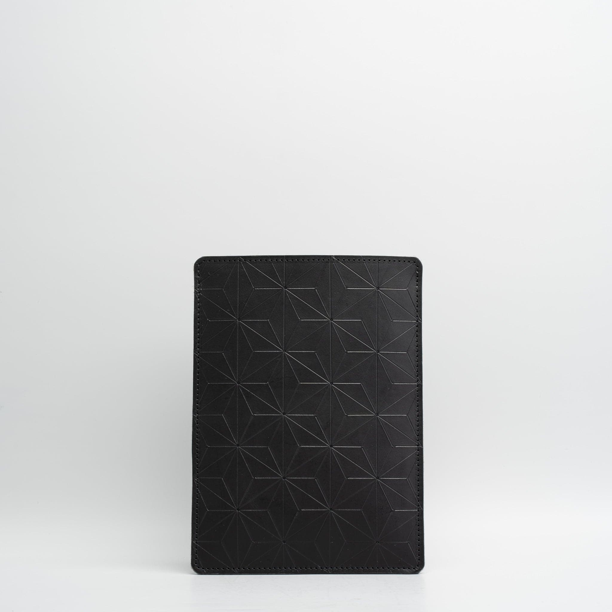 Geometric leather sleeve for iPad & MacBook - Black