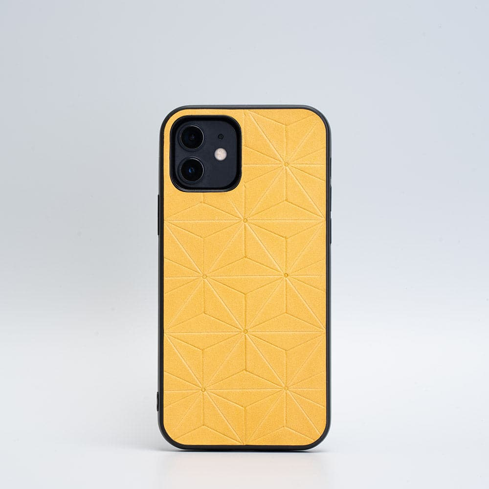 iPhone 12 yellow leather case
