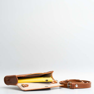 interior leather waist bag tan