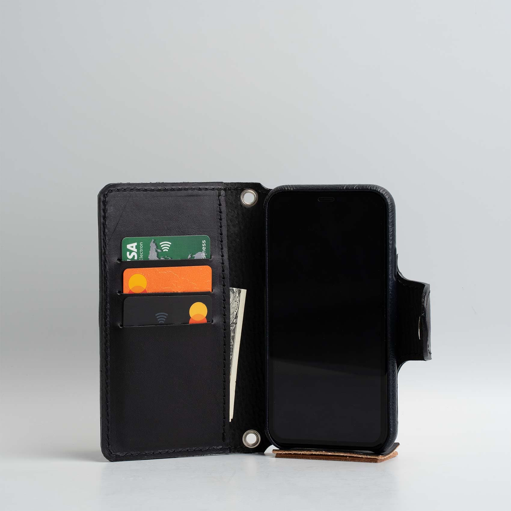 black leather iPhone 11 wallet case