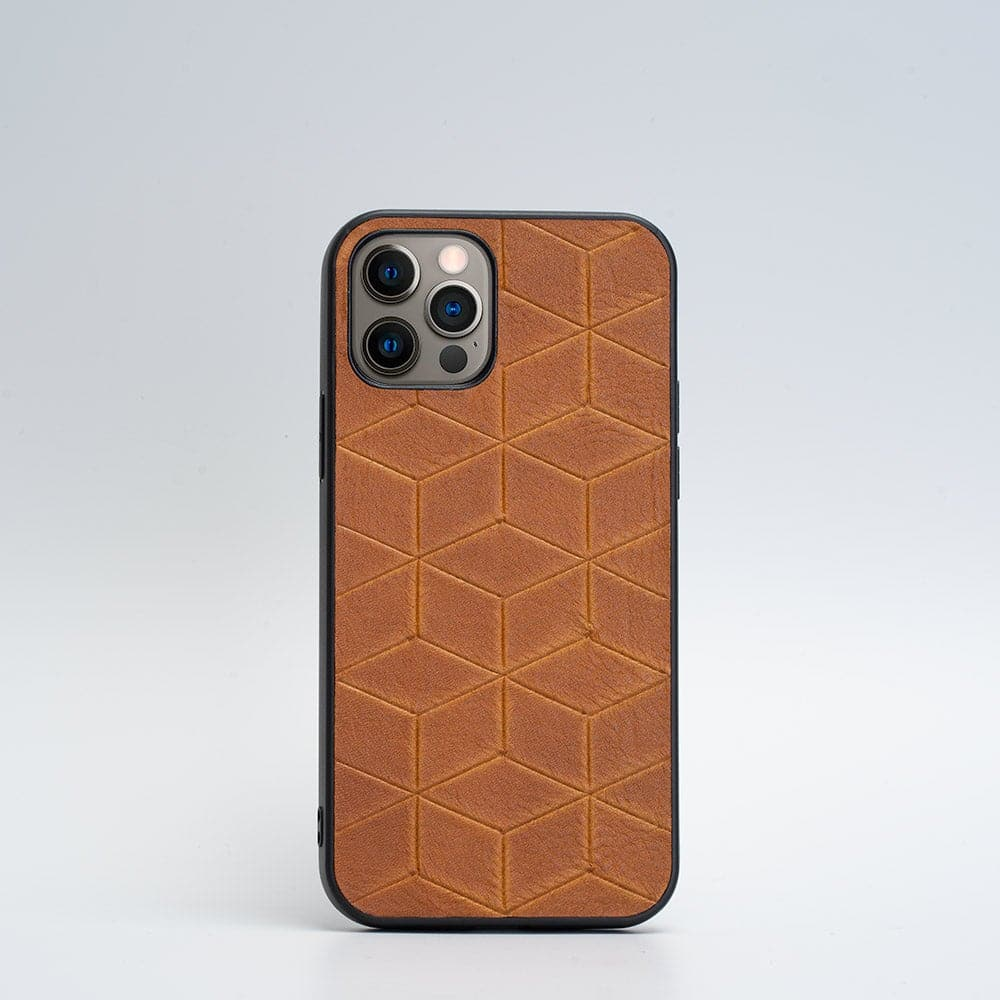 iPhone 12 leather case ginger
