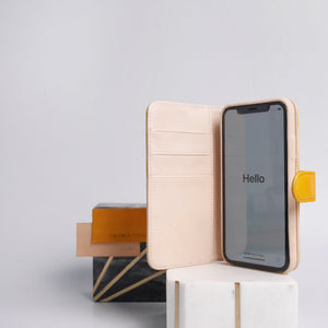 leather iPhone xs wallet case in yellow color