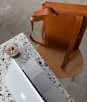leather backpack with separate laptop compartment