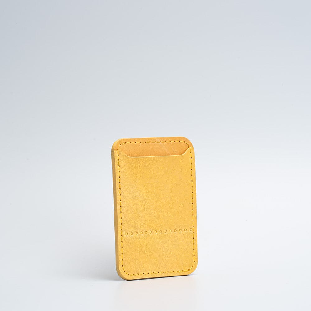 leather magsafe wallet in mustard yellow color