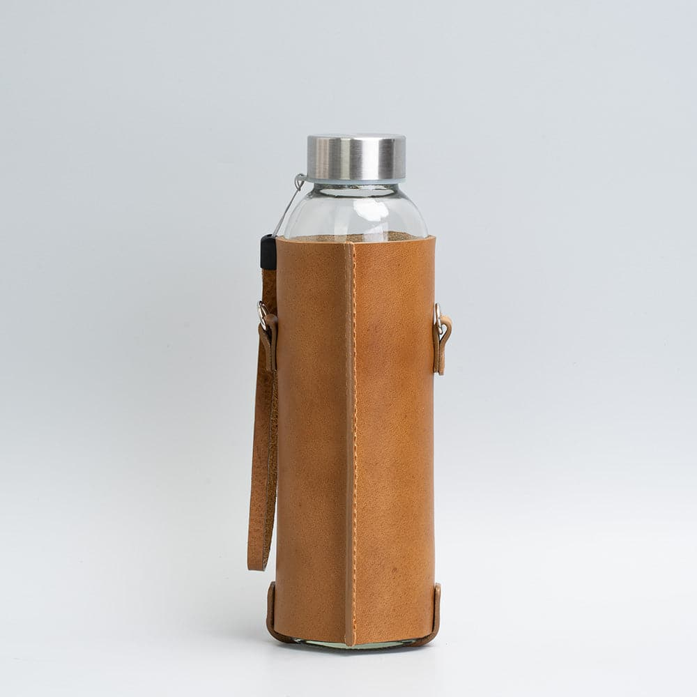 leather water bottle bag