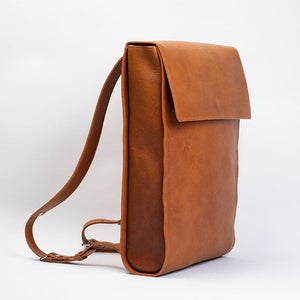 minimalist thin leather backpack