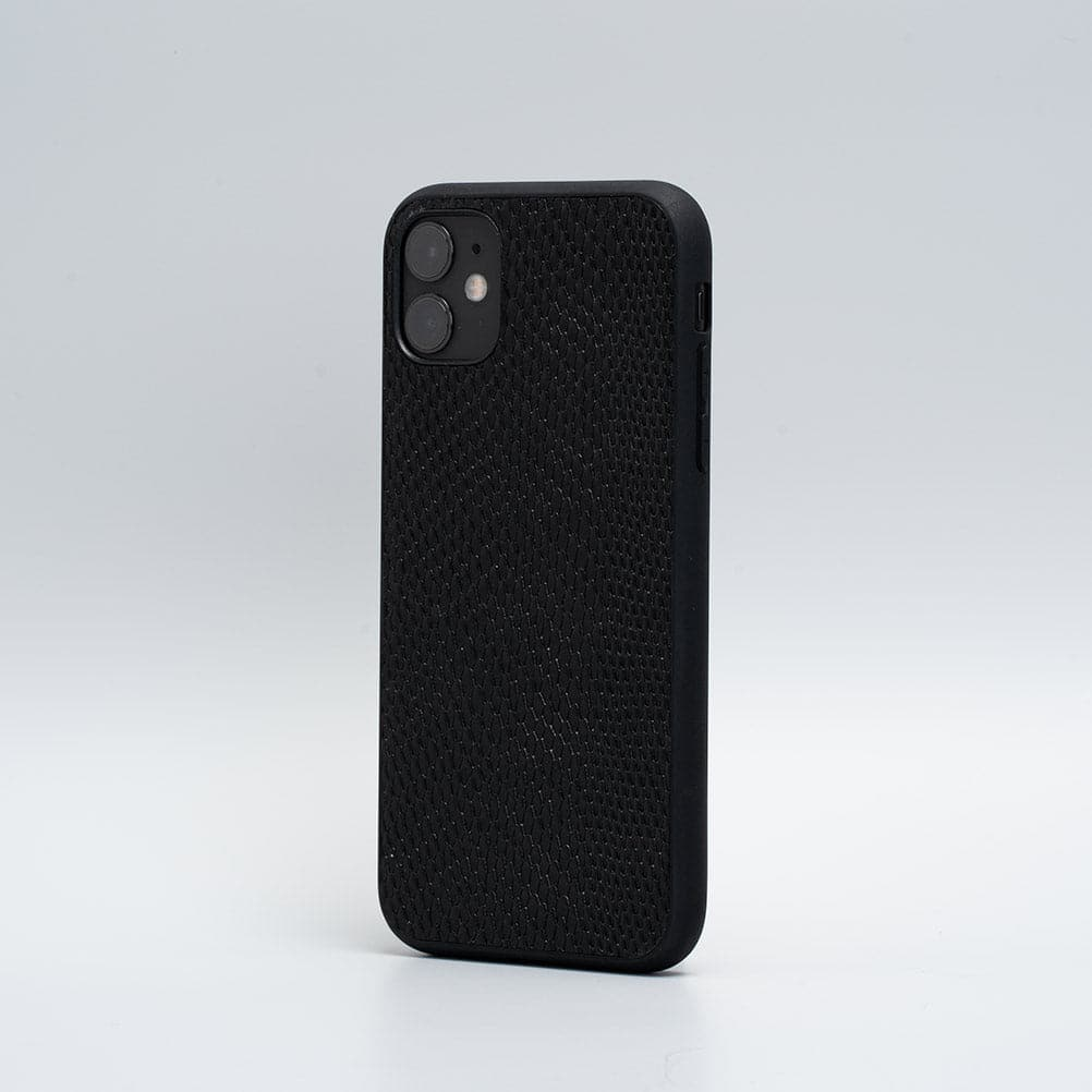 black iPhone 11 leather case