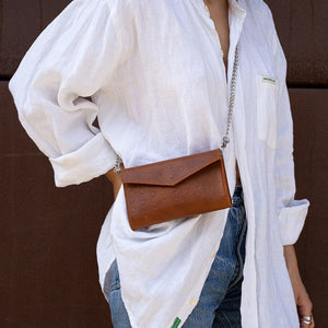 tan fanny pack with chain strap