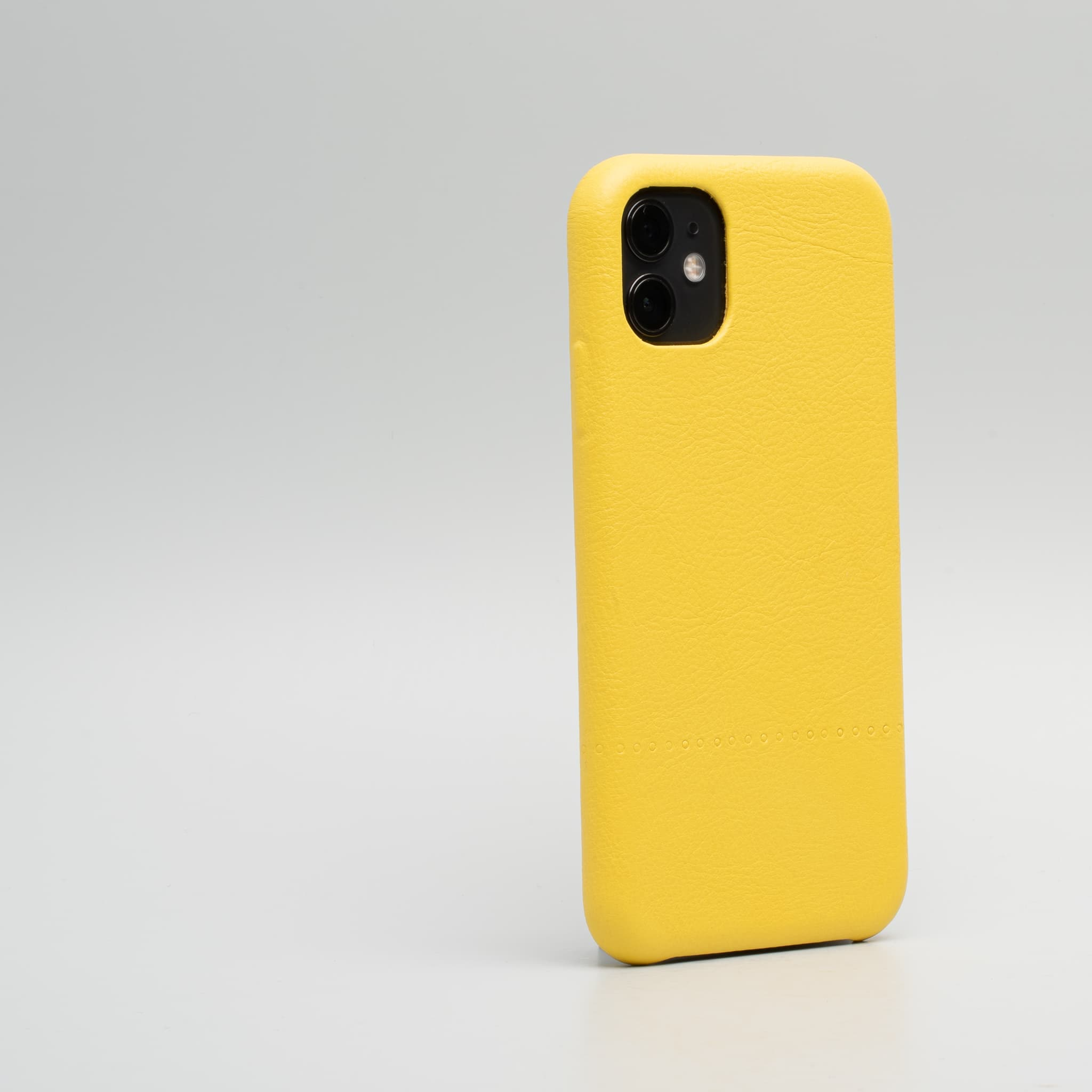 yellow leather iPhone 11 case
