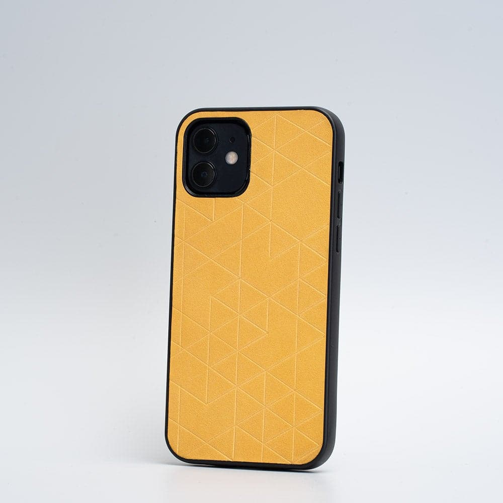 yellow iphone 12  leather case