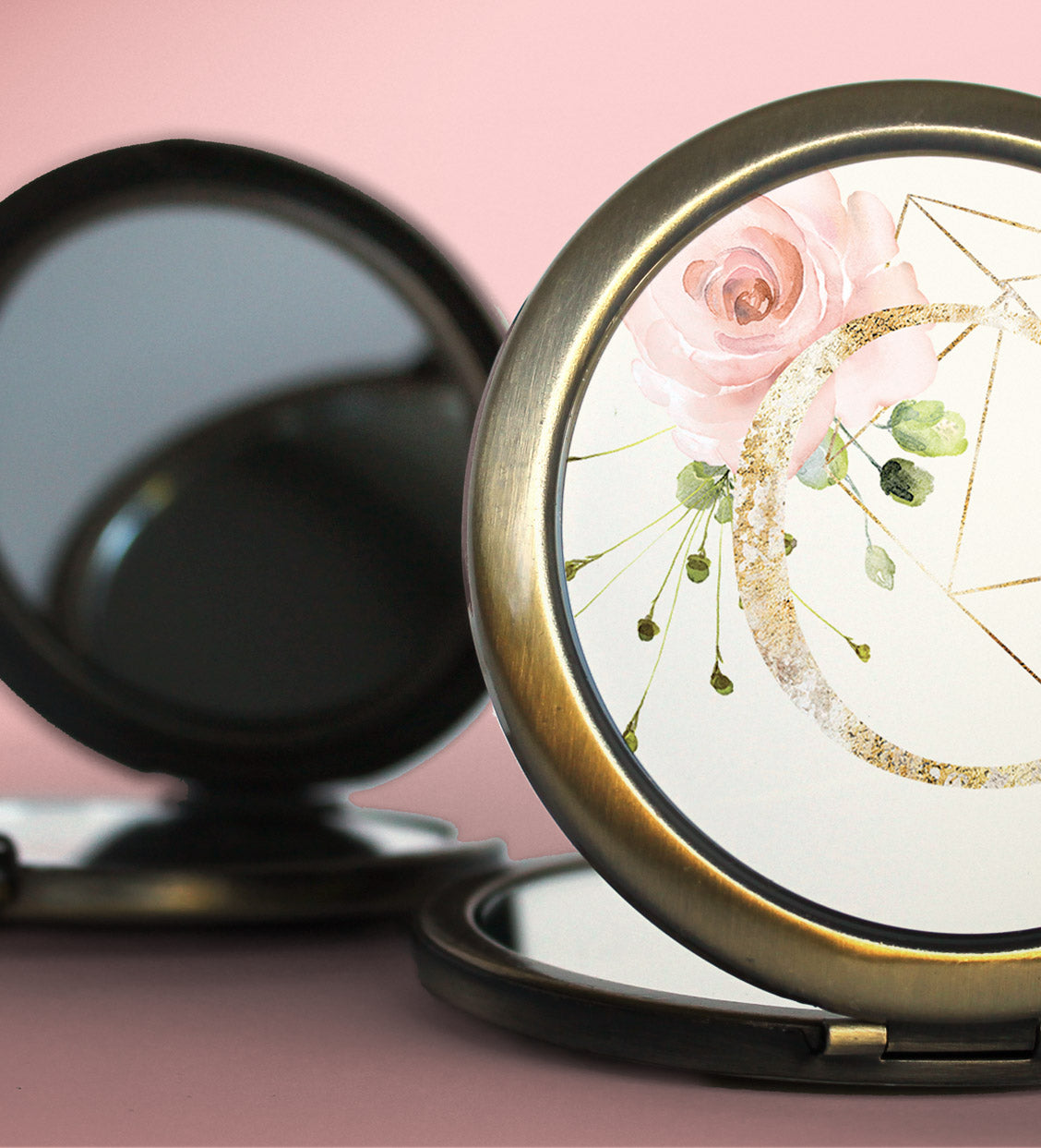 Vintage Gold Blush Floral Compacts | Wedding Party Gift
