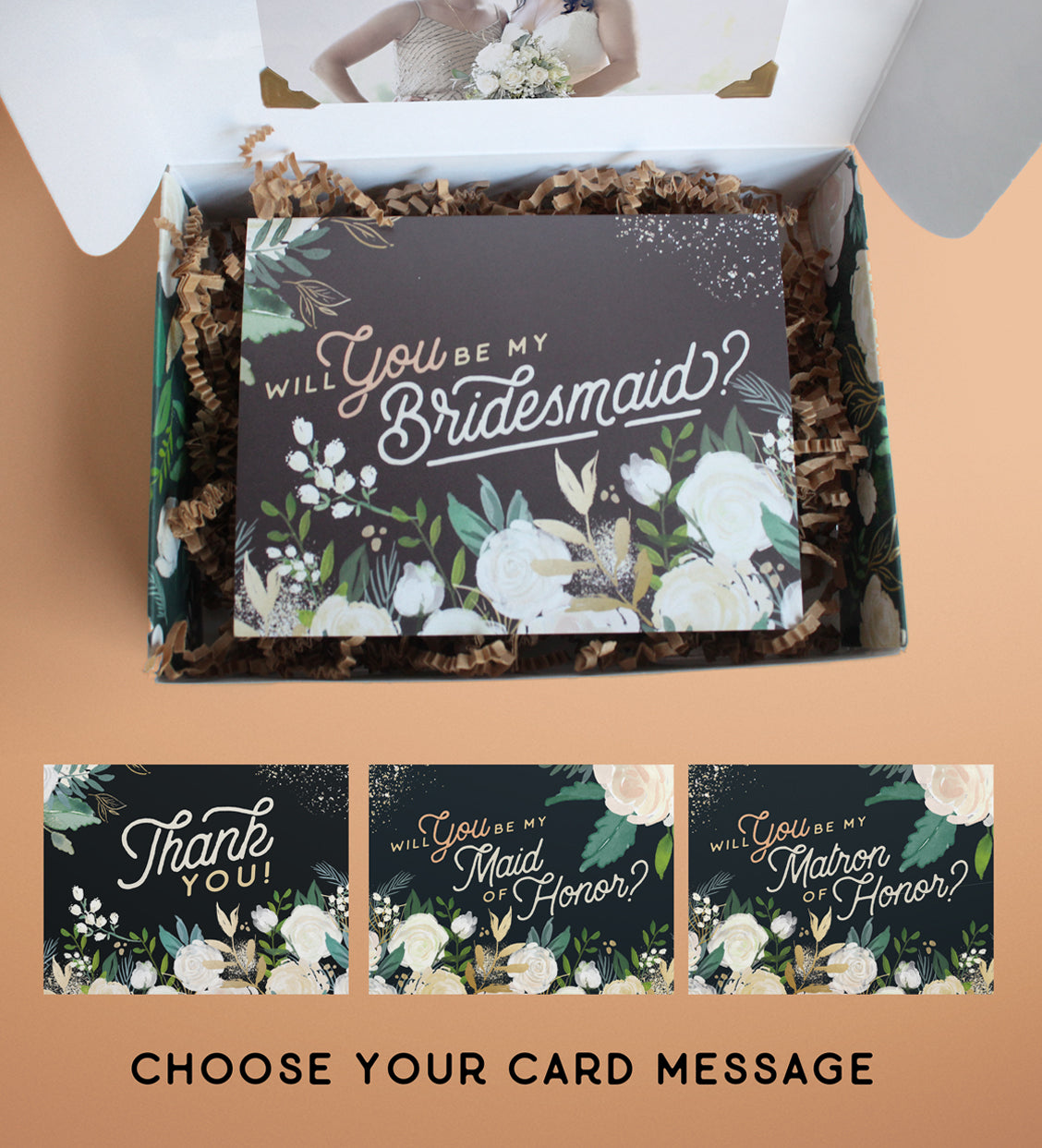 "Mini Vintage Florals Bridesmaid Proposal Box  |  ""Flowers in Your Hair"""