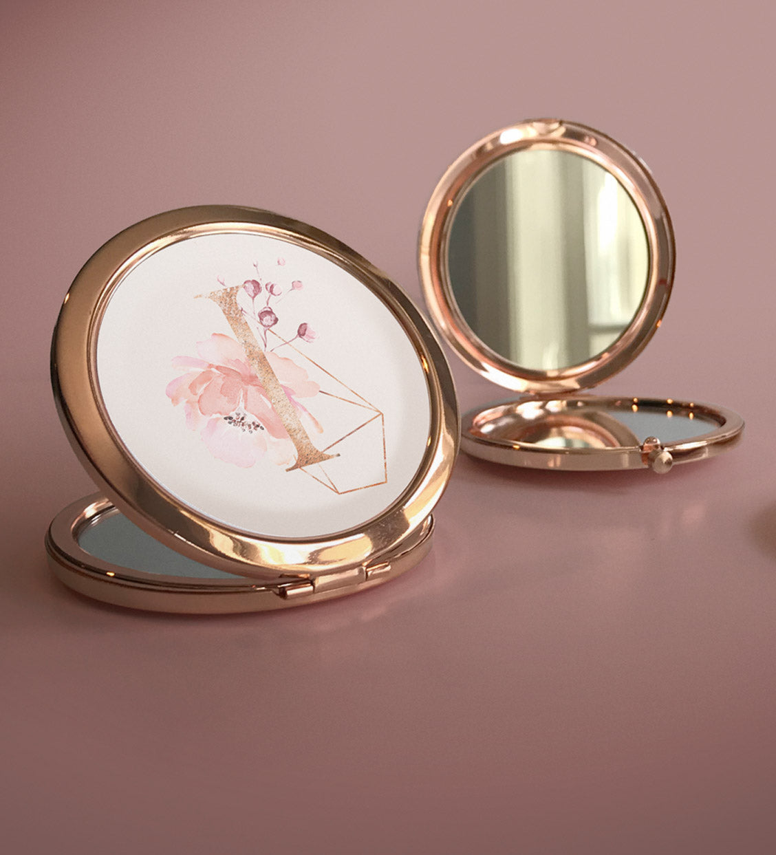 Art Deco Rose Gold Compacts | Wedding Party Gift