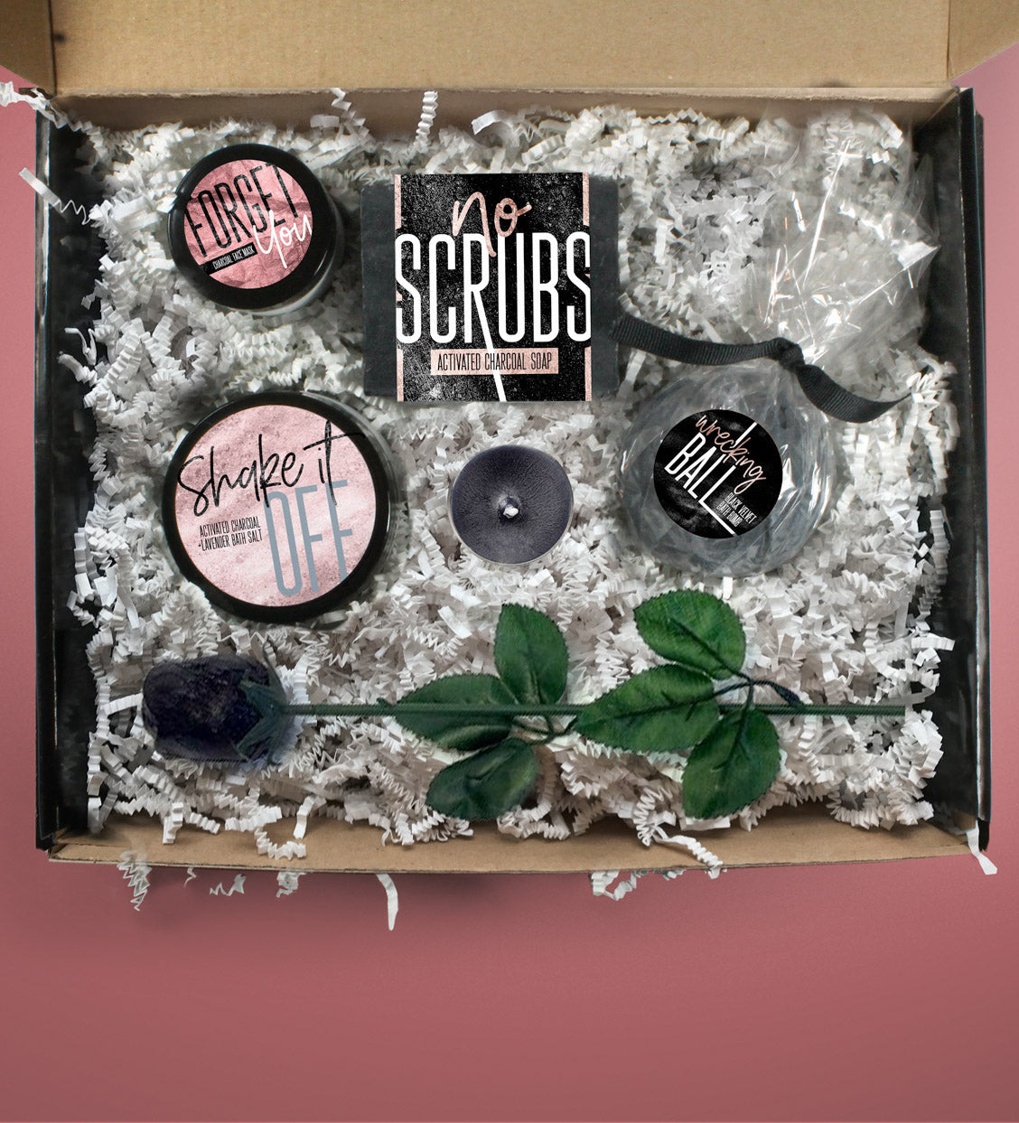 Break Up Care Package Activated Charcoal Spa Set