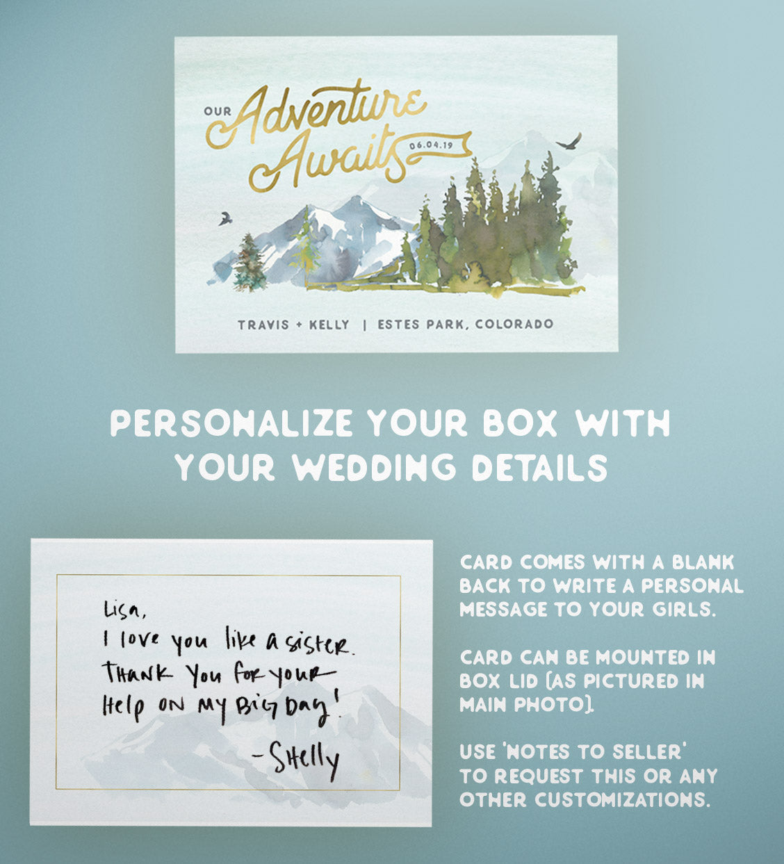 "Adventure Wedding Bridesmaid Proposal Box  |  ""Adventure Awaits"""
