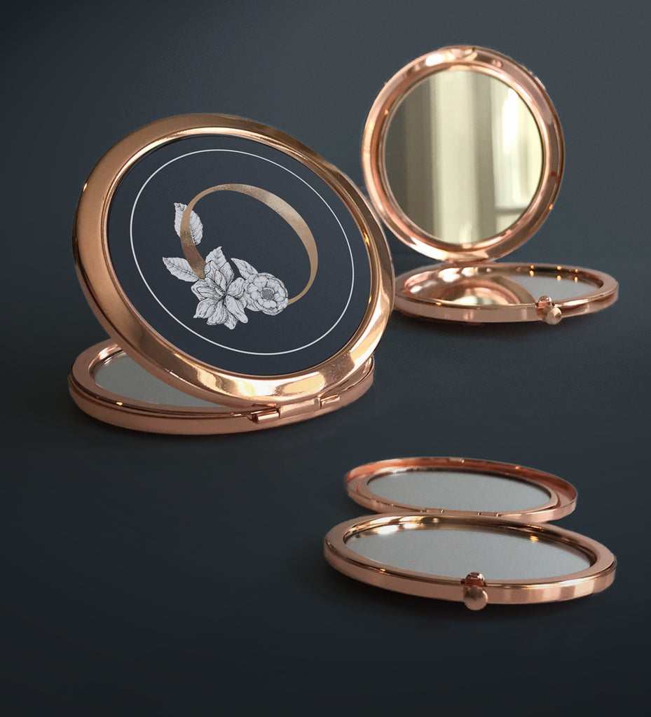 Rose Gold Floral Compacts | Wedding Party Gift