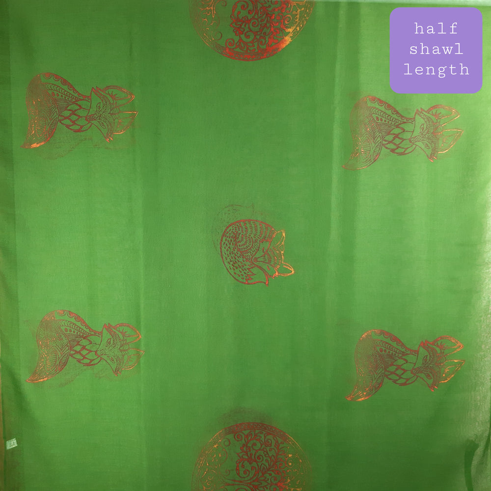 Green Shawl with Tree of Life & Fox Print