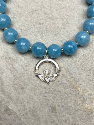 Blue Kyanite and Claddagh Bracelet