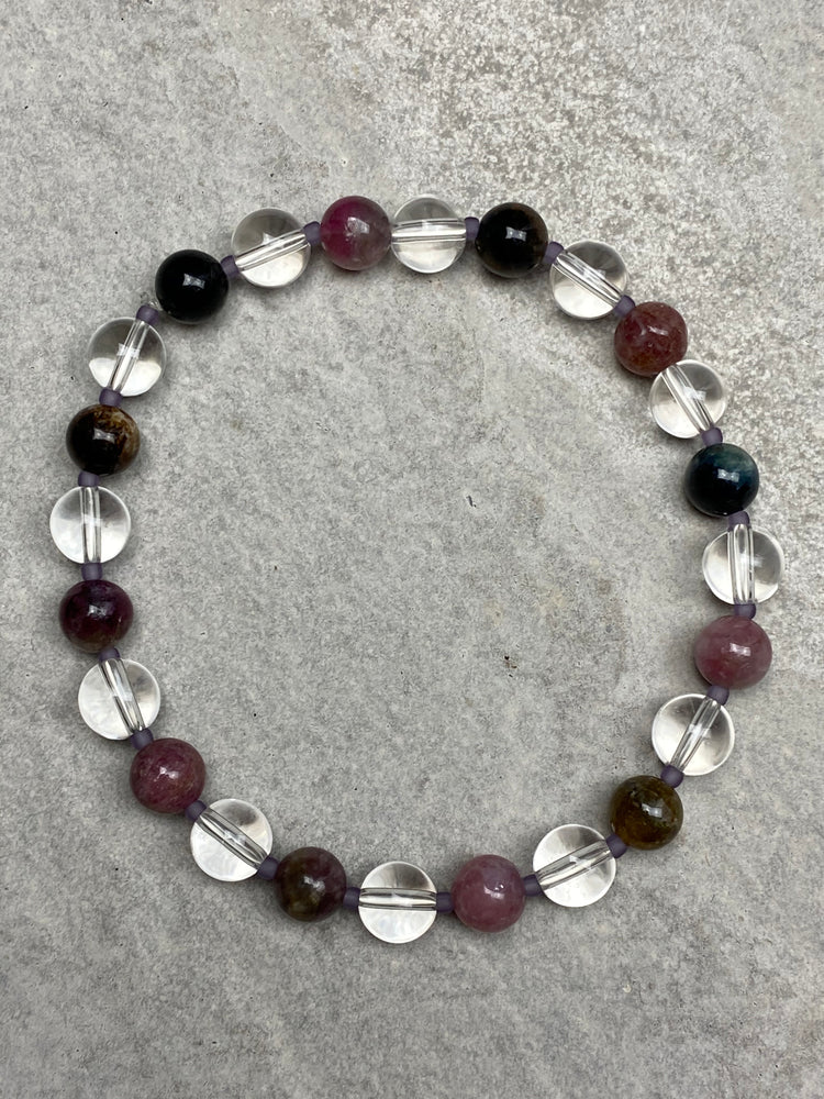 Watermelon Tourmaline and Clear Quartz bracelet