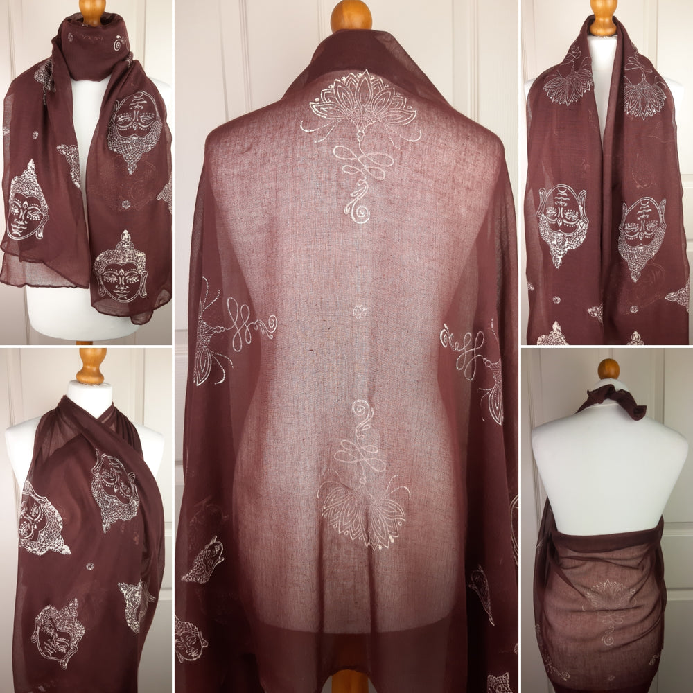 Brown Shawl with Lotus Unalome & Buddha Head Design