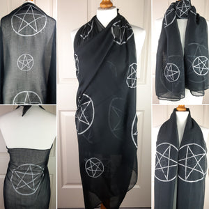 Black Shawl with Pentacle Print