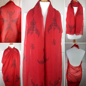 Red Shawl with Phoenix Print