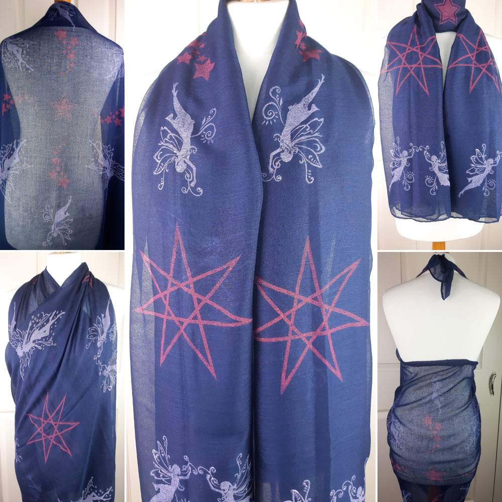 Navy Shawl with Fairies and Faery Star Print
